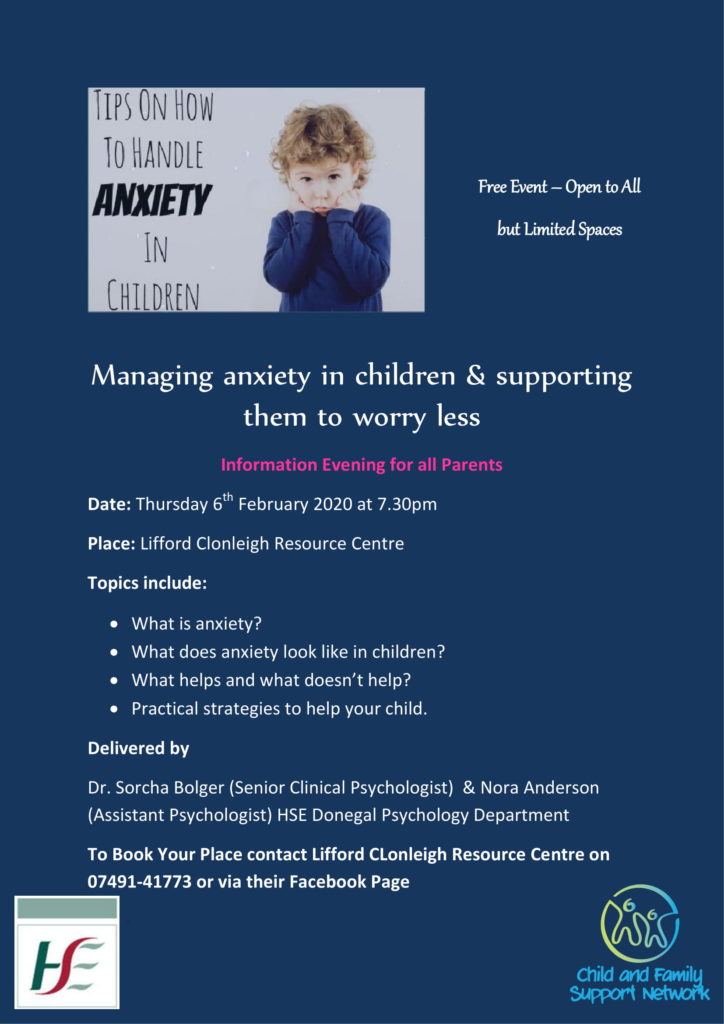 Anxiety Workshop for Parents Lifford 6th February 1 1